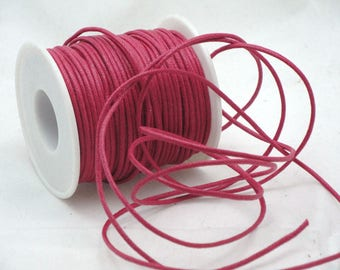 Hot pink waxed cotton cord 2 mm the meter