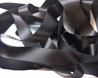Black satin ribbon width 95 mm, Coupon of 1.20 meters - lot 165