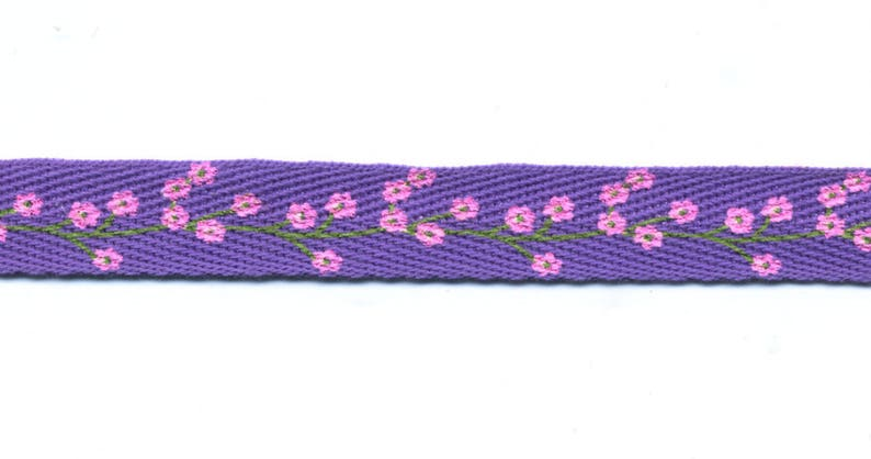 Purple violet Twill Ribbon with pink flowers C90 width 13 image 0