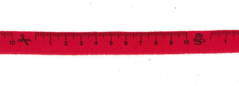 Ribbon Twill red metre seamstress measure width 15 mm-coupon image 0