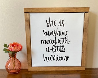 Sunshine Mixed With Hurricane | Nursery Décor | Kids Room Décor | Canvas Sign | Handlettered Canvas | Baby Shower Gift | Fierce Girl Quote