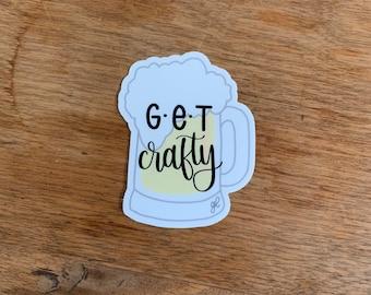 Get Crafty | Hand Drawn Beer Stein Sticker | Laptop, Hydroflask, Notepad Vinyl Decal