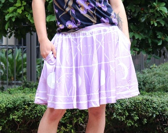 c3e959caa7b Angel Summoning Skirt WITH POCKETS - Pastel Goth Purple Skater Skirt - One  Size and Plus Size