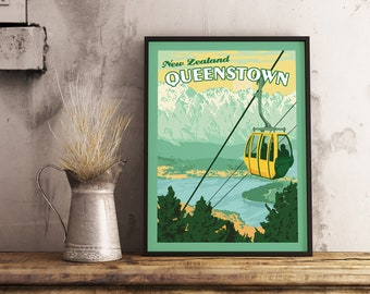 POSTER WINTER SPORT WANAKA NEW ZEALAND MOUNTAINS SKIING VINTAGE REPRO FREE S//H