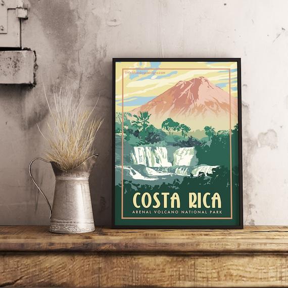 Arenal Volcano Costa Rica Travel Poster Wall Decor Rainforest National Park