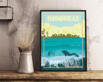 Honduras Utila - Vintage Travel Poster