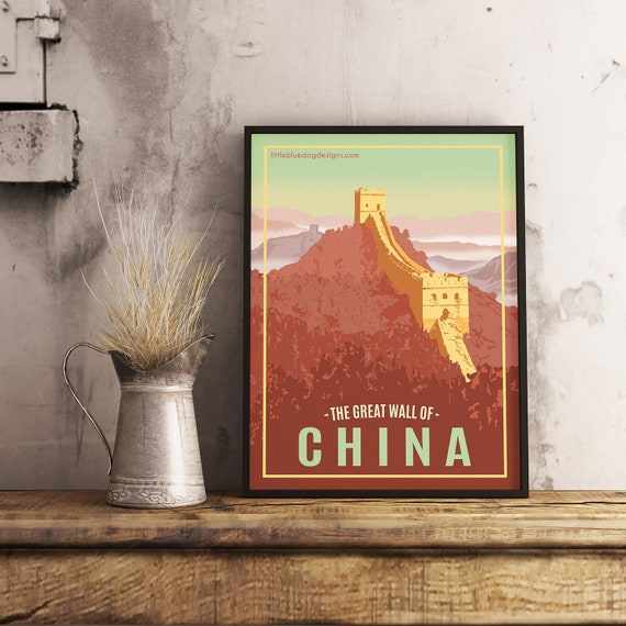 Great Wall of China Vintage-Style Travel Poster Postcard Multiple Sizes