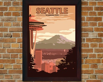 Seattle WA - Vintage Travel Poster