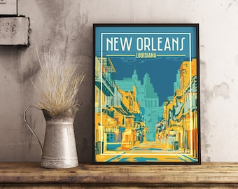 New Orleans Louisiana - Vintage Travel Poster