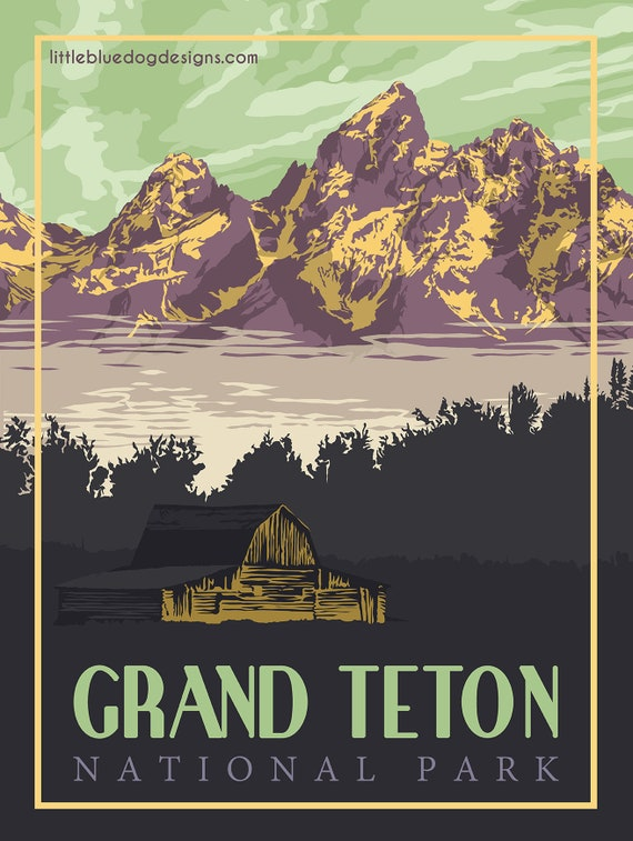 Grand Teton National Park Wyoming Vintage Travel Poster Etsy