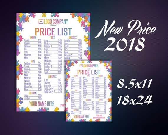 Price List 2018 - Price Sign - New Style - Pricing Guide - Large Poster -  Price Chart - Digital Files - Home Office Approved Color&Fonts