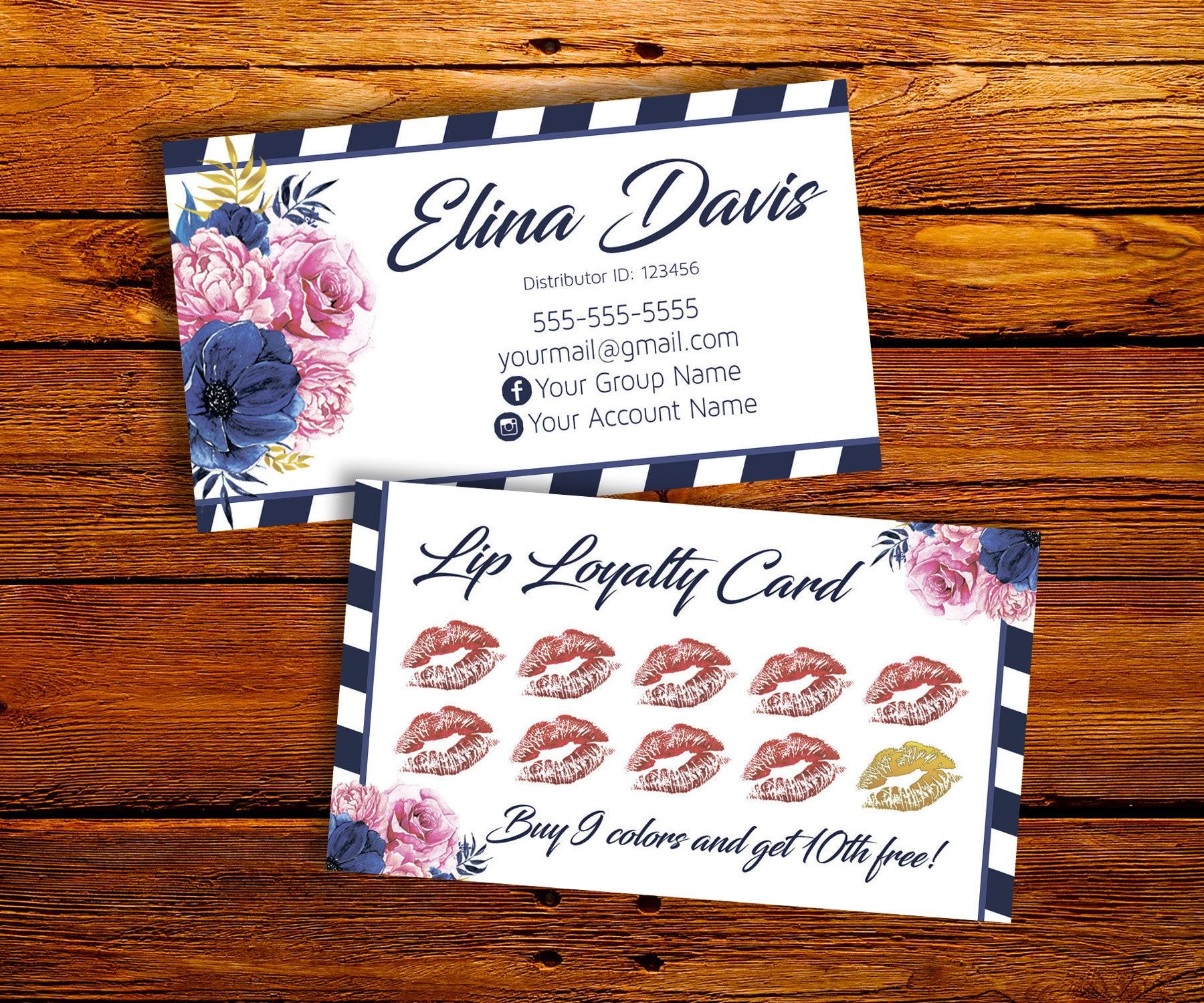 Lipsense Loyalty Card Lipsense Business Card Customer Etsy