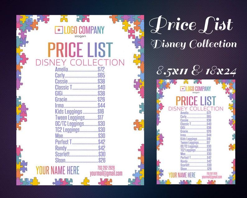 picture regarding Lularoe Price List Printable identify Selling price Record Poster for Disney Range - Price tag Record - Price tag Signal - Value Chart - Electronic Information - Property Business Accredited ColorFonts