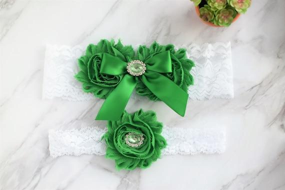 OFF WHITE DARK GREEN EMERALD WEDDING GARTER SET Wedding Bridal Garter