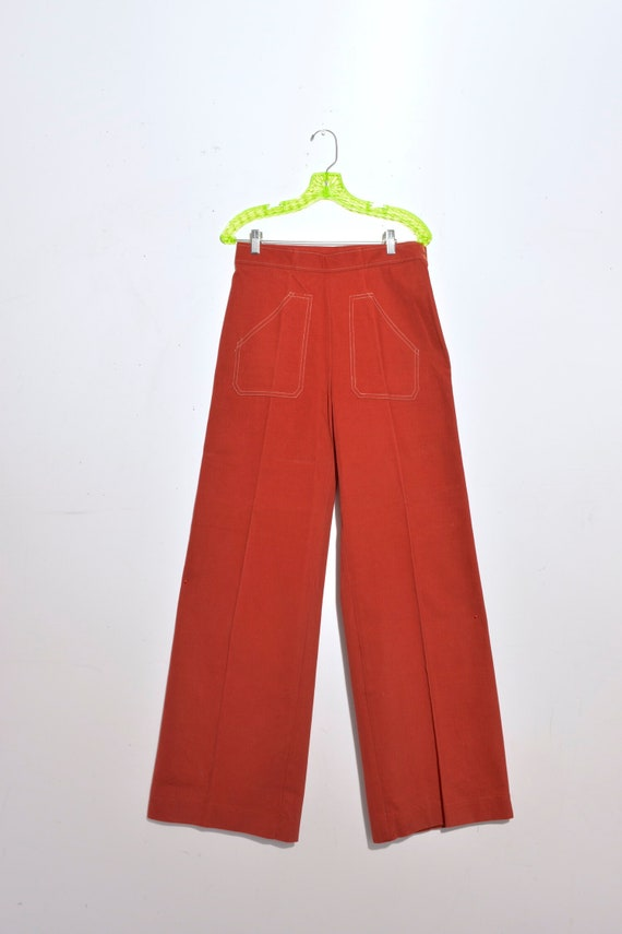 Vintage 1970s High Waist Contrast Stitch Wide Leg