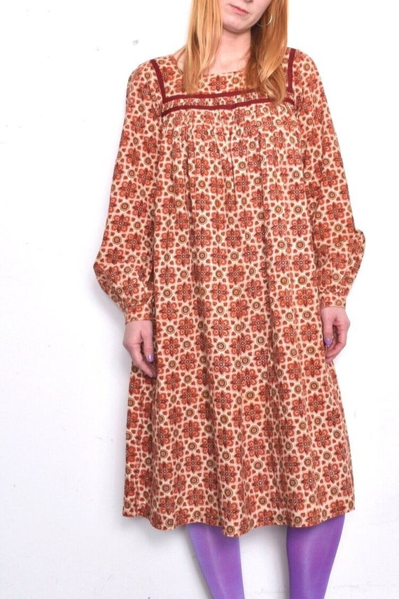 Vintage 1970s Mandala Print Cotton Smock Dress Siz