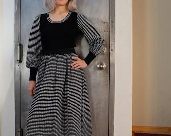 Vintage 70s Metallic Knit Maxi Dress