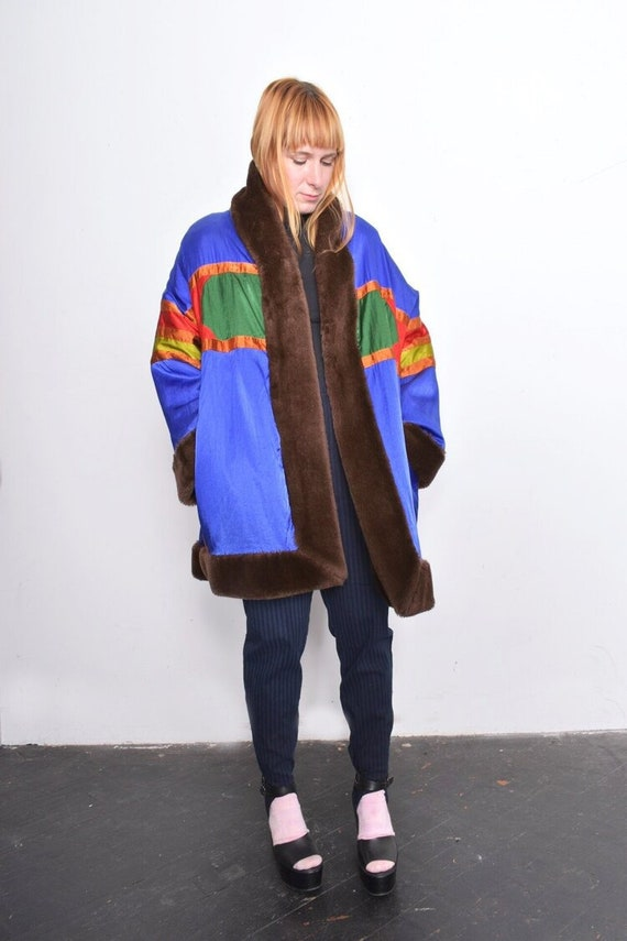 Vintage 1980s Reversible Satin and Faux Fur Cocoon