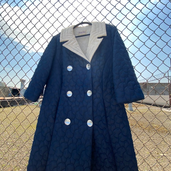 Vintage 60s Quilted Navy House Coat Size OS