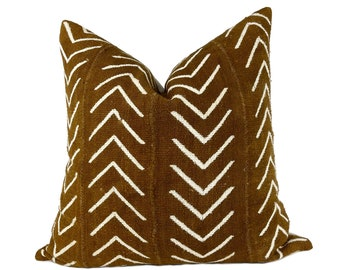 Brown Mudcloth Pillow Cover, Modern Minimalist Pillows