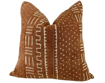 Rust Mudcloth Pillow Cover