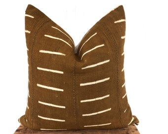 Brown mudcloth pillow cover