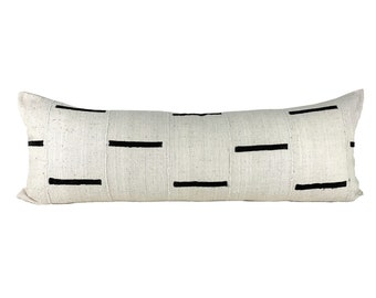 "Ivory Mudcloth Pillow Cover, 13""x35"" Large Lumbar Pillow Cover"