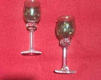 Vintage Crystal Cordial Glasses Set of 2