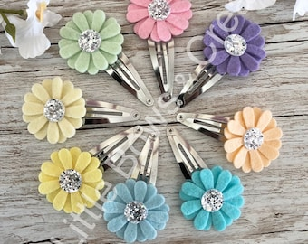 Pastel daisy collection, daisy clips, hair clips, fringe clips