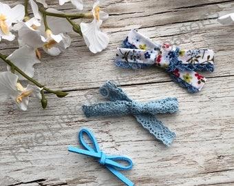 Blue headband set, hair bow, headband, baby headband, bows