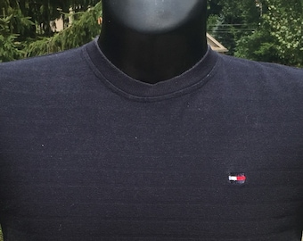 aed0c9cea9 90s Tommy Hilfiger Athletics small logo Sailing Gear stitched patch Navy  Blue cotton T-shirt size M vtg vintage simple minimal basic classic