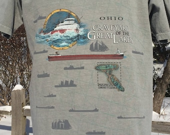 90s Ohio Graveyard of the Great Lakes spellout freighter graphic double sided greenish T-shirt size L ship wrecks Edmund Fitzgerald