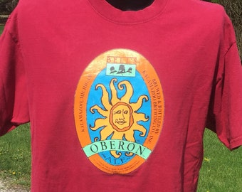 vintage Bell s Oberon Ale big logo graphic Red T-shirt size XL vtg beer  Kalamazoo Michigan craft brewery micro brew summer wheat beer tee 88b68b465