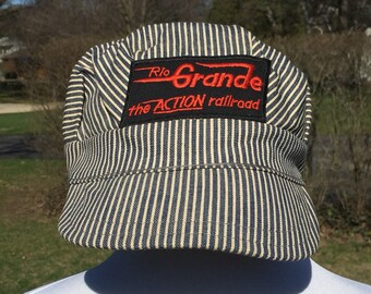 f1e08927a48eb 70s Rio Grande the ACTION railroad embroidered spellout patch engineer s  White   Blue striped denim Hat Cap size S M vtg vintage rail