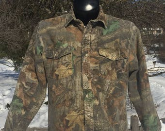 90s Codet Advantage Timber camouflage chamois button down lined collar Shirt size L camo hunter realtree woods