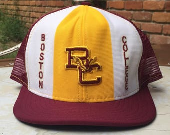 ec61fe11fc1 80s Boston College embroidered logo mesh snapback ball cap sz L burgundy  yellow white AJD lucky stripes brand Made in USA 100% nylon