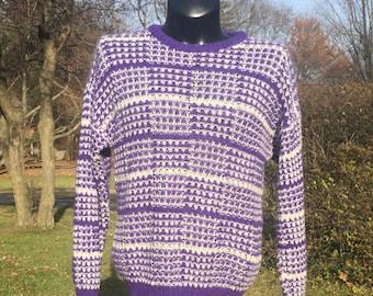 80s Le Cashé loose knit acrylic purple   white horizontal stripes pullover  sweater size L soft simple basic retro crew neck 41e483d05