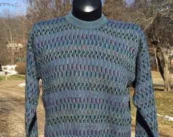 80s Lavané multicolor ribbed knit crew neck pullover sweater size L orange  black navy teal purple lilac f5d1b7c36