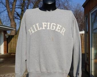 b8e058c7 90s Tommy Hilfiger big logo graphic Heather pullover sweatshirt size L/XL  vtg vintage simple basic