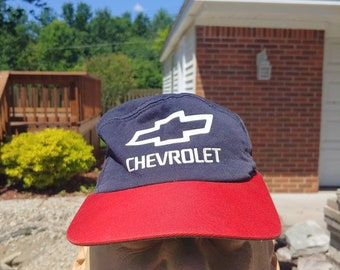 new concept ae887 e377c 80s 90s Chevrolet logo graphic blue red snapback hat ball cap vtg vintage  automakers Chevy hat