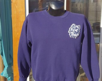 fbca8c5cbcf 90s Majestic UCONN Huskies stitched patch graphic navy blue pullover  sweatshirt size L made in USA vtg vintage college university Connecticu
