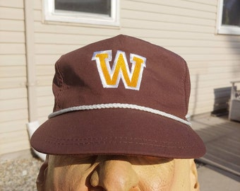 7313aacdf9064e 90s Western Michigan University logo graphic brown trucker hat ball cap  adult adjustable vtg vintage simple basic made in usa