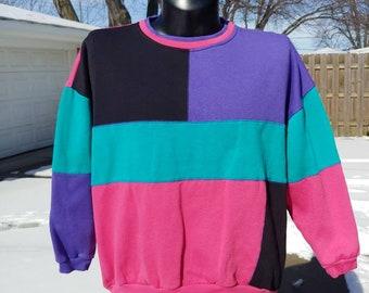 90s Whitefish Bay colorblock pullover sweatshirt size XL vtg vintage pink  purple teal black 791a51bef