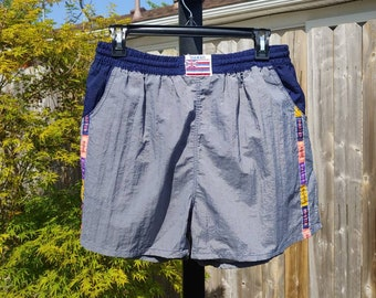 c7a3f6fbe1b74 80s Surf Master Hawaii blue gray swim trunks swimsuit swim shorts size M/L  vtg vintage