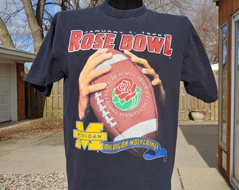 54015b6f97e 1998 University of Michigan wolverines Rose Bowl football graphic Black T  shirt size L XL vtg vintage college sports