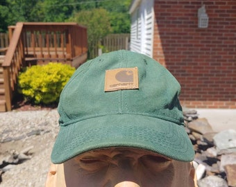 quality design 78602 c43a3 90s Carhartt green snapback ball cap trucker hat vtg vintage leather logo  patch simple basic classic work wear made in usa