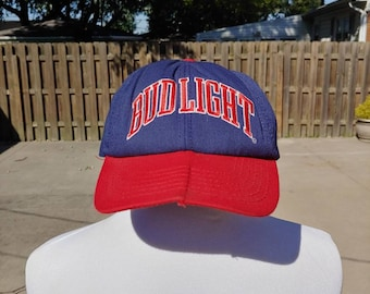 a0ff639a0a9b4 90s Bud Light logo stitched graphic blue red baseball cap hat adult  adjustable made in USA vtg vintage beer booze alcohol Budweiser