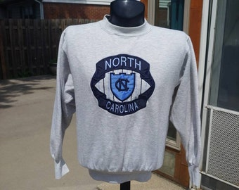 save off 435a2 88f65 90s University of North Carolina graphic stitched heather pullover  sweatshirt size M L vtg vintage tarheels college