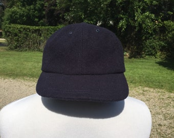 bb0cc5435d5 90s- J Crew plain blank wool fitted Navy Blue baseball Hat Trucker Cap tag  size S made in USA vtg vintage minimal simple basic