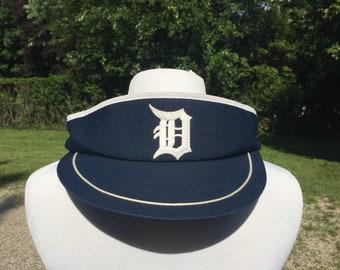 c711dc90c7e 80s- Detroit Tigers logo graphic Navy Blue adjustable Sun Visor vtg vintage  mlb baseball sports basic simple